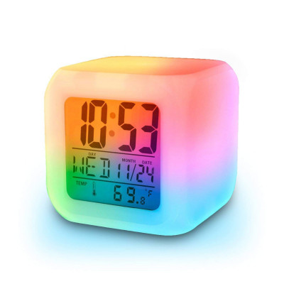 Wellteck Alarm Clock with 7 Color Changing Digital...